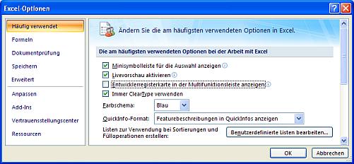 Excel- Optionen