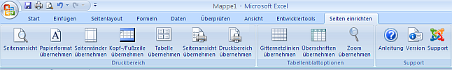 Excel AddIn - Seiten einrichten